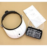 Wholesale Magnifying Headset Led - Wholesale-LED Lamp Light Headband Headset Head Jeweler Magnifier Magnifying Glass Loupe