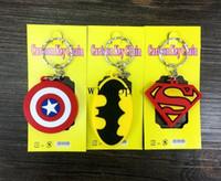 Wholesale key party favors - New 100pcs Mix Cartoon Superhero Batman Superman Captain America Logo Pvc Key Chains Pendant Children Toy Gifts Party Favors