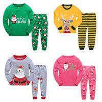 Wholesale Pajama Years - Long Sleeve Girls Boys Kids Cotton Christmas Pajama Suits Sleepwear Fashion For Christmas 2-7 Years 6 sets lot