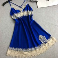 Wholesale Women Erotic Shirt - Wholesale- Silk Suspenders Lingerie Sexy Eyelash Lace Hollow Cross Halter Night Shirts Dressing Gowns For Women Erotic Lingerie