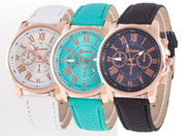 Wholesale Geneva Watch Man - Unisex Geneva Leather PU Quartz Watches Men Women Luxury Brand Numerals Roma Men's Watch Casual dress wrist watches wholesale