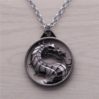 Wholesale Bronze Pendant Love - 2016 Fashion Dragon Jewelry Pendant Mortal Kombat Game Logo Pendant Necklace Bronze Silver Alloy Keychain