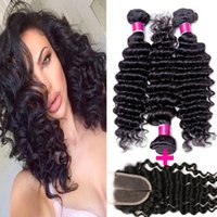 Wholesale Deep Curl Lace Closure - 7A unprocessed grade brazilian deep wave curly virgin hair weave 3pcs lot brazillian deep curl virgin hair extensions with 1top lace closure