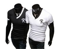 Wholesale Low Priced Men Tees - Wholesale-Lowest Price  Fast Ship  2016 New Male Fashion Brand Tees,T shirt Men Casual Short Sleeve V-Neck T-shirts Plus Size XXXL 4XL