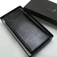 Wholesale Aligator Wallet - 2018 New men's luxury popular the new fashion business MB genuine leather business card case bag vintage aligator print long wallet