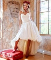 Wholesale Bubble Cascade - Short Front Long Back Vintage Wedding Dresses Ruched Sweetheart Bubble Hem High Low Bridal Gowns 1950s Style Simple Outdoor Bride Dress New