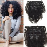 Wholesale per hair resale online - 100 malaysian virgin hair g kinky curly clip in human hair extensions human hair quot quot g per set