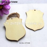 Wholesale Wholesale Badges Police - (50pcs lot) 70mm Unfinished Blank Wooden Police Badge Party Scropbook Ornaments 2.8 inches -CT1336
