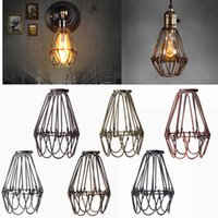 Wholesale pendant lamp shade glass - Wholesale-Retro Vintage Industrial Lamp Covers Pendant Trouble Light Bulb Guard Wire Cage Ceiling Fitting Hanging Bars Cafe Lamp Shade
