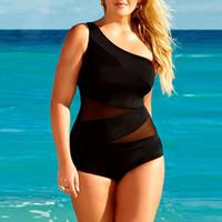 Wholesale swimwear retail for sale - Retail set New women sexy black Single Shoulder swimwear one piece Bikini swimsuit set Plus size XL XXL XXXL