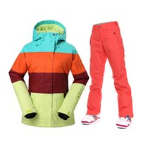Barato Casacos De Esporte Feminino Por Atacado-Wholesale-Gsou Neve Winter Snowboard Ternos Mulheres Ski Jacket e calças Outdoor Patchwork Sports Jackets Waterproof 10K Female Skiing Sets