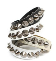 Wholesale Spiked Stainless Cuffs - Fashion Punk Gothic Rock Leather Rivet Stud Spike Bracelet Cuff Bangle Wristband for women and men