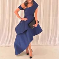 Wholesale Prom Navy Blue Asymmetrical - Asymmetrical Navy Blue Satin Formal Dresses for Women Strapless African Evening Dresses Tiers Skirt Evening Gowns vestido longo