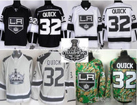 Wholesale Gray Cupping - 2016 Wholesale Los Angeles Kings Jerseys #32 Jonathan Quick Black White Gray Camo Stitched LA hockey jersey Stanley Cup Patch