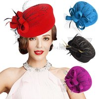 Wholesale Womens Red Wool Beret - Embroidered Retro Womens Veil Feather Formal Occasion Cocktail Party Felt Wool Floral Pillbox Winter Hat A140