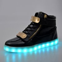 Wholesale Girls Denim Shoes - Led Board Shoes High Top Woman USB Lights Up Lovers For Adults Students With Girls Sport Glow Charging Fashion Casual Luminous Unisex Shoe
