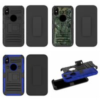 Wholesale Rugged Armor Skin Hard Case - Camouflage Kickstand Shockproof Case With Belt Clip For Iphone X Galaxy Note8 Note 8 3in1 Rugged Hybrid Hard PC+TPU Armor Card Holster Skin