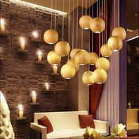 Wholesale Modern Wood Lighting Chandeliers - Modern LED Wood Chandelier Creative Wooden Ball Pendant Lamp Wood Pendant Light Meteoric Shower Stair Light Restaurant Chandelier Light