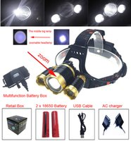 Wholesale Rechargeable Power Bank - RJ-5000 Headlamp LED Headlight 18650 CREE T6 8000 Lumens 3Led USB Power bank Rechargeable Hunting zoomable Head Light Charger