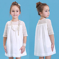 Wholesale Chic Baby Clothes - 2016 New Kids Baby Girls White Chic Fairy Lace Floral Party Solid Gown Fancy Dresses Baby Summer Casual Dress Clothes
