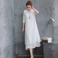 Wholesale Dresse Women - Women dress Summer dress Plus-size False two-piece solid color Chinese style Loose and asymmetrical dress Casual Dresse
