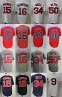 Cool Base Boston Jerseys Hombres 9 Ted Williams 15 Dustin Pedroia 16 Andrew Benintend 34 <b>David Ortiz</b> 50 Mookie Betts Jerseys Mix Orden