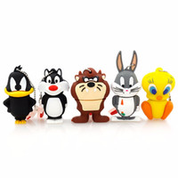ours au canard achat en gros de-Bande dessinée Ours Daffy Duck Bugs Lapin Chat Tweety Oiseau USB 2.0 Flash Drive U Disque Animal Pendrive Memory Stick Cadeau 1 GB 8 GB 16 GB