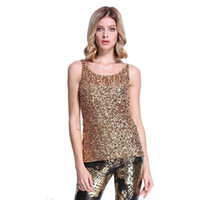 Wholesale Embellished Top Xl - Women's Shimmer Glam Sequin Embellished Sparkle Vest Top Sleeveless Crew Neck T Shirt Tank Top for Ladies