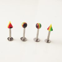 Wholesale body jewelry spike - 100pcs Rainbow Ball Spike Stainless Steel Tragus Ear Piercing Lip Labret Rings Helix Earring Body Piercing Jewelry