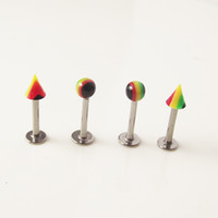 100pcs Rainbow Ball Spike из нержавеющей стали Tragus Ear Piercing Lip Labret Кольца Helix Earring Body Piercing Jewelry