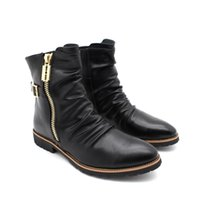 Homens Ankle Pointed Toe costura Western Boots Zipper Genuine Leather High Top Punk Flats Sapatos Motorcycle Martin Boots