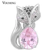 Wholesale Jewelry Foxes - NOOSA 18mm Snap Charms Luxury Fox CZ Stone 4 Colors Drop Copper Material Animal Interchangeable Jewelry Vn-1398