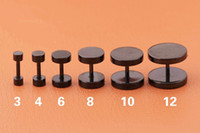 100pcs nero dimensioni Sandblast Top Screw Fit Tappi per le orecchie Gauge Expander Earlobe Taper Barella Ear Piercing Ear Tunnel Plug