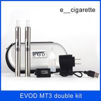 Wholesale Mt3 Double Starter - electronic cigarette Evod MT3 double starter kit atomizer clearomizer 650mah 900mah 1100mah battery e cigarette for Free DHL ship
