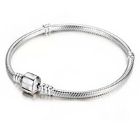 ingrosso fabbrica di monili 925-All'ingrosso della fabbrica 925 bracciali in argento sterling 3mm catena del serpente Fit Pandora Charm Bead Bangle braccialetto gioielli regalo per le donne degli uomini
