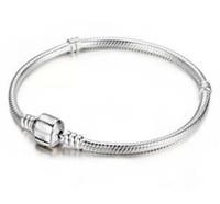encantos de cuentas de plata de ley 925 al por mayor-Venta al por mayor de fábrica 925 pulseras de plata esterlina 3 mm cadena de la serpiente Fit Pandora Charm Bead Bangle Bracelet regalo de la joyería para hombres mujeres