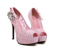 sandalia de encaje nuevo coreano al por mayor-2016 Nuevo Estilo Princesa Sandalias Estilo Coreano Diamante Artificial Zapatos de Tacón Ultra Alto Peep Toe Zapatos de Boda