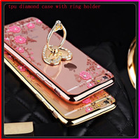 Wholesale Peacock Rhinestone Iphone Case - Rhinestone TPU Case with Peacock Heart Ring Holder Phone Case Cover for Iphone 6 6s 6 plus with Kickstand