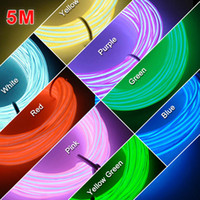 Wholesale Glow Lighting Rope Strip Charger - LEEWA 9 colors 5m Flexible EL Neon Glow Lighting Rope Strip+Charger for Car Decoration SKU:#3095