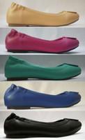 Wholesale Blue Suede Shoes Comfort - Hot Brand Designer US Moccasin Loafers 5 Colors Classic Metal Buckle Ballet Flats Heel Women Comfort Suede Genuine Leather Shoes Sz 35-41