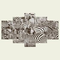 ingrosso decorazioni della camera zebra-(Nessuna cornice) Una zebra una serie HD Tela stampa 5 pannello Wall Art Oil Painting Texture astratta Immagini Decor Living Room Decoration