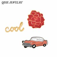 Wholesale Cars Jeans - Wholesale- QIHE JEWELRY Vintage Cool Flower Red Car Red Automobile Brooch collar badge Hat Jeans Jacket Accessories