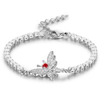 Wholesale White Gold Bangle Butterfly - 5pcs Lot Fashion Butterfly Bracelets Bangle For Women 2mm Cubic Zircon Silver Color Love Blacelets Bangles