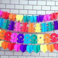 Wholesale Honeycomb Paper Garland - Wholesale- 3M Creative Colorful Cartoon Animal Paper Garland Striped Paper Flags Banner Decor Honeycomb Ball Birthday Party Supplies5zSH766