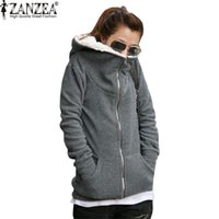 Großhandel- ZANZEA 2017 Frauen Herbst Winter Warm Mantel Thick Fleece Baumwolle Zip Up Hoodies Sweatshirt Jacke Hooded Outerwear Plus Size