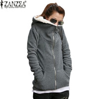 Wholesale Thick Cotton Womens Hoodie - Wholesale- ZANZEA 2017 Womens Autumn Winter Warm Coat Thick Fleece Cotton Zip Up Hoodies Sweatshirt Jacket Hooded Outerwear Plus Size