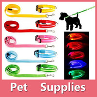 Wholesale Reflective Raincoats - Led Pet Dog Puppy Cat Kitten Soft Glossy Reflective Collar And Leash Safety Buckle Pet Supplies Products Colorful 160927
