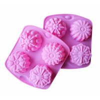 Wholesale Muffin Cases Free Shipping - free shipping factory Flower shape Muffin case Candy Jelly Ice cake Silicone Mould Mold Baking Pan Tray 4 even
