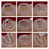 925 knochenhalskette großhandel-Ball Fisch Knochen Form 925 Silber Halskette 6 Stück viel gemischte Stil, brandneue Unisex Sterling Silber Halskette EMP61 Großverkauf der Fabrik