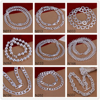 Wholesale bone style chain resale online - Ball fish bone shape silver Necklace pieces a mixed style brand new unisex sterling silver Necklace EMP61 factory direct sale